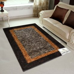 Avioni Rugs Double Border in Coffee And Brown  For Living Room Actual Feather Touch- Softness Guaranteed-Handloom Made Reversible Light Weight