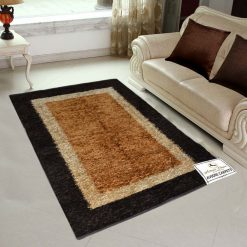 Avioni Rugs Double Border in Coffee And Beige  For Living Room Actual Feather Touch- Softness Guaranteed-Handloom Made Reversible Light Weight