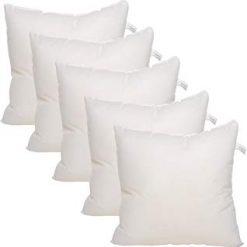 Avioni Cushion Insert – High Quality Fiber Filler Cushion – 12X12 Inch – White -Set of 5 Cushion Fillers