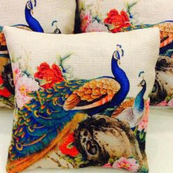 3D Cushion Covers Colourful Peacock Pair – Best Price 16 X 16 Inch (set of 5) by Avioni