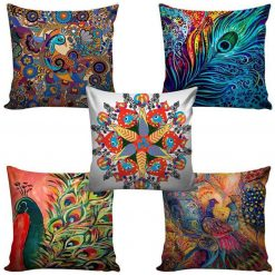 3D Cushion Covers Peacocks In True Colours – Best Price 16 X 16 Inch (set of 5) by Avioni