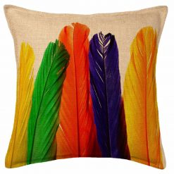 3D Cushion Covers  Feather Rangoli Colours- Best Price 16 X 16 Inch (set of 5) by Avioni