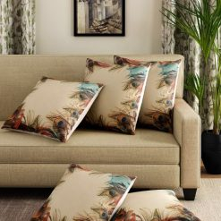 3D Cushion Covers Colurful Peacock Feather – Best Price 16 X 16 Inch (set of 5) by Avioni