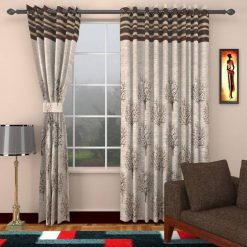 Avioni Premium Tree of Life Jute Panel Coffee Window And Door Curtains Heavy Material (Set of 2)