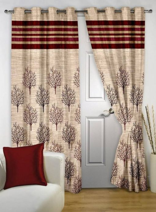 Avioni Premium Tree of Life Jute Panel Red Window And Door Curtains Heavy Material (Set of 2)