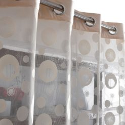 Avioni Elegant Bubbles Sheer Curtains Cream Colour Window And Door Curtains (Set of 2)