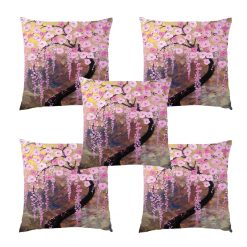 3D Cushion Covers Floral In Voilet Flower Rain Soft Feel – Best Price 16 X 16 Inch (set of 5) by Avioni