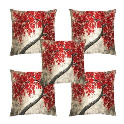 3D Cushion Covers Floral  Silver Red- Best Price 16 X 16 Inch (set of 5) by Avioni