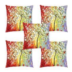 3D Cushion Covers Painting of Flowers – Best Price 16 X 16 Inch (set of 5) by Avioni
