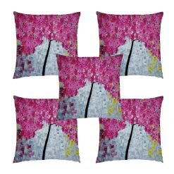 3D Cushion Covers Floral In Pink Flower Rain Soft Feel – Best Price 16 X 16 Inch (set of 5) by Avioni
