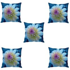 3D Cushion Covers White Flower Soft Feel – Best Price 16 X 16 Inch (set of 5) by Avioni