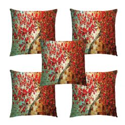 3D Cushion Covers Floral In Red Petals Rain Soft Feel – Best Price 16 X 16 Inch (set of 5) by Avioni