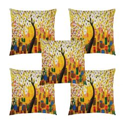 3D Cushion Covers Floral In Yellow Petals Soft Feel – Best Price 16 X 16 Inch (set of 5) by Avioni