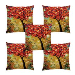 3D Cushion Covers Floral Red And Blue Soft Feel – Best Price 16 X 16 Inch (set of 5) by Avioni