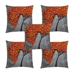 3D Cushion Covers Floral In Red And Yellow Soft Feel – Best Price 16 X 16 Inch (set of 5) by Avioni