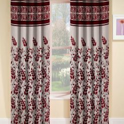 Avioni Beautiful Floral Panel Heavy Crush In Mahroon Window And Door Curtains (Set of 2)