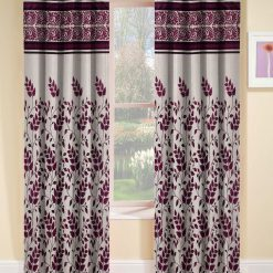 Avioni Beautiful Floral Panel Heavy Crush In Coffee Window And Door Curtains (Set of 2)