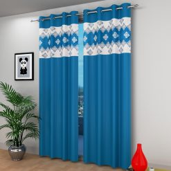 Avioni  damask Patch Heavy Crush In Aqua Window And Door Curtains (Set of 2)