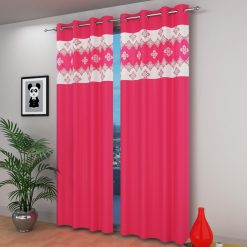 Avioni  damask Patch Heavy Crush In Pink Window And Door Curtains (Set of 2)