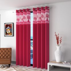 Avioni  Tree Of Life Patch Heavy Crush In Pink Window And Door Curtains (Set of 2)