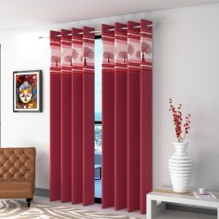Avioni  Tree Of Life Patch Heavy Crush In Red Window And Door Curtains (Set of 2)