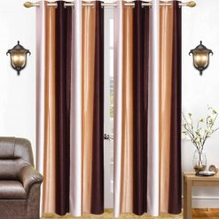 Avioni Beautiful Long Crush Stripes Coffee Shades Window And Door Curtains Heavy Material (Set of 2)