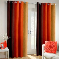 Avioni Beautiful Long Crush Stripes Orange Shades Window And Door Curtains Heavy Material (Set of 2)