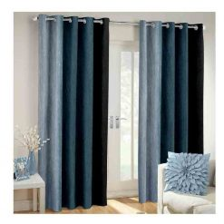 Avioni Beautiful Long Crush Stripes Gray Shades Window And Door Curtains Heavy Material (Set of 2)