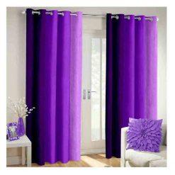 Avioni Beautiful Long Crush Stripes Purple Shades Window And Door Curtains Heavy Material (Set of 2)