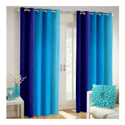Avioni Beautiful Long Crush Stripes Blue Shades Window And Door Curtains Heavy Material (Set of 2)