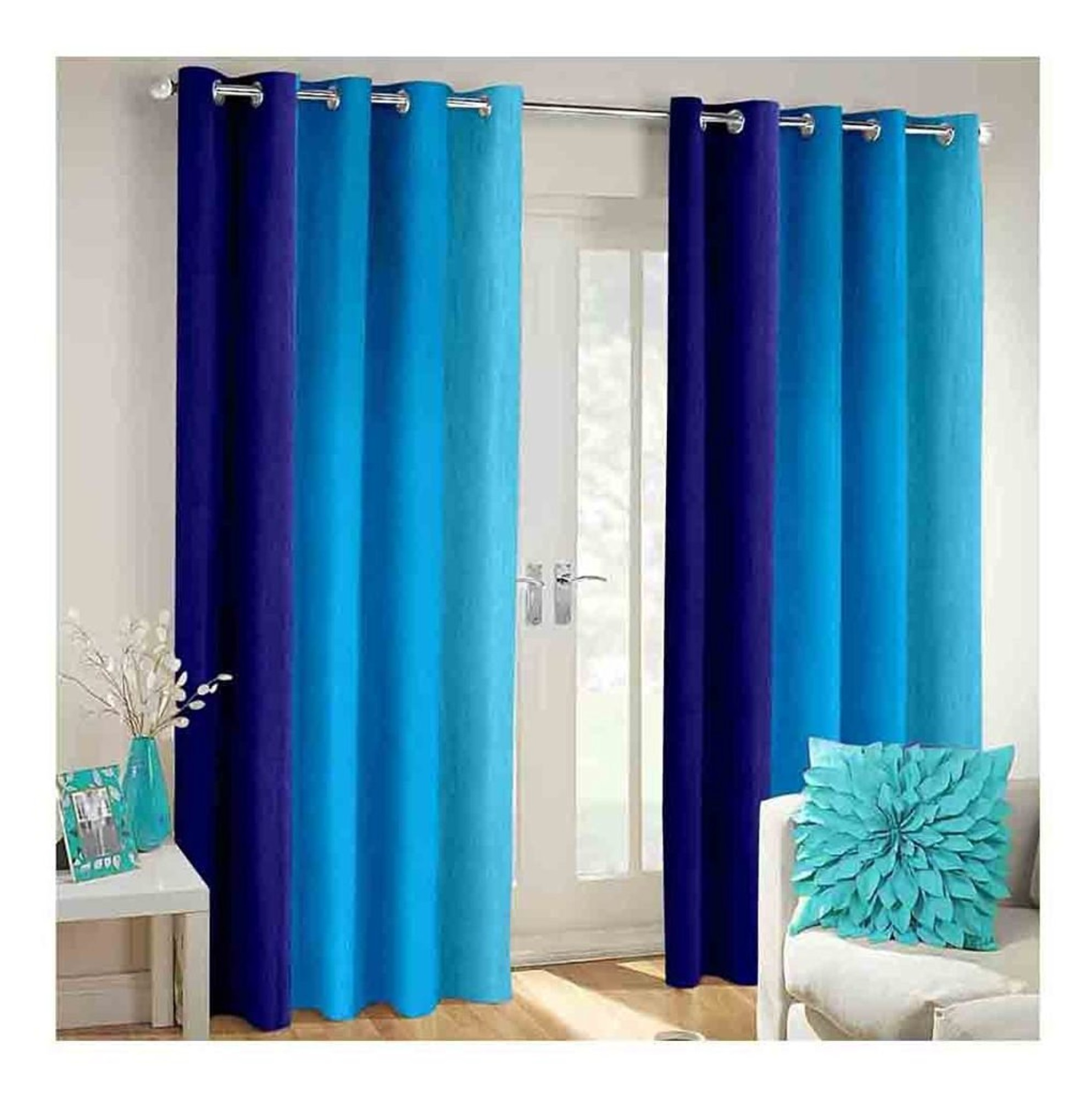 Avioni Beautiful Long Crush Stripes Blue Shades Window And Door Curtains Heavy Material Set Of 2