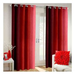 Avioni Beautiful Long Crush Stripes Red Shades Window And Door Curtains Heavy Material (Set of 2)