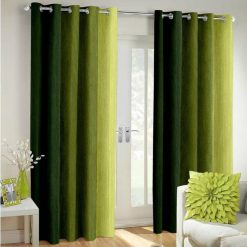 Avioni Beautiful Long Crush Stripes Olive Shades Window And Door Curtains Heavy Material (Set of 2)