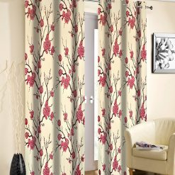 Avioni Beautiful Long Crush Red Flowers Bunch Window And Door Curtains Heavy Material (Set of 2)