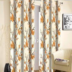 Avioni Beautiful Long Crush Brown Flowers Bunch Window And Door Curtains Heavy Material (Set of 2)