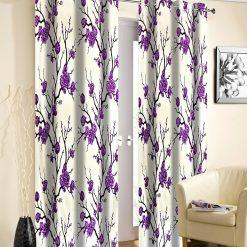 Avioni Beautiful Long Crush Purple Flowers Bunch Window And Door Curtains Heavy Material (Set of 2)