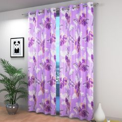 Avioni Beautiful Long Crush Purple Feather & Flower Window And Door Curtains Heavy Material (Set of 2)