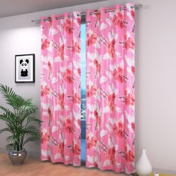 Avioni Beautiful Long Crush Pink Feather & Flower Window And Door Curtains Heavy Material (Set of 2)