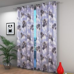 Avioni Beautiful Long Crush Gray Feather & Flower Window And Door Curtains Heavy Material (Set of 2)