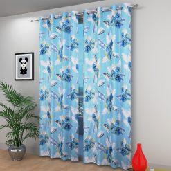 Avioni Beautiful Long Crush Aqua Feather & Flower Window And Door Curtains Heavy Material (Set of 2)
