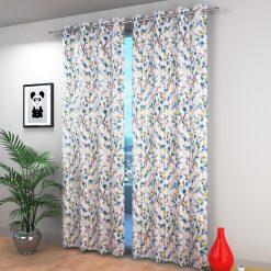 Avioni Beautiful Long Crush Aqua Leaves & Flower Window And Door Curtains Heavy Material (Set of 2)