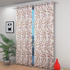 Avioni Beautiful Long Crush Brown Leaves & Flower Window And Door Curtains Heavy Material (Set of 2)