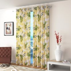 Avioni Beautiful Long Crush Green Feather & Flower Window And Door Curtains Heavy Material (Set of 2)