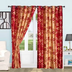 Avioni Beautiful Long Crush Red & Beige Floral Window And Door Curtains Heavy Material (Set of 2)