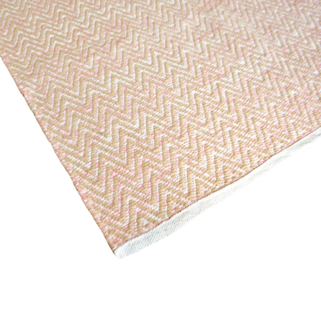 Avioni Lux Handloom Cotton Designer Durries-122 cm X 182 cm (4x6 Feet)- Pink