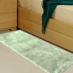 Avioni Handloom Silver Reversble Bedside Runners in Soft Fur (22X55 Inch)