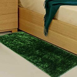 Avioni Handloom Green Reversble Bedside Runners in Soft Fur (22X55 Inch)