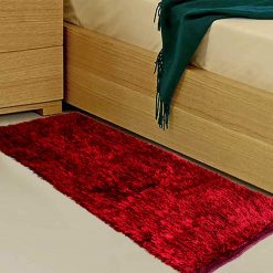 Avioni Handloom Red Reversble Bedside Runners in Soft Fur (22X55 Inch)