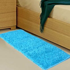 Avioni Handloom Aqua Bedside Runners in Soft Fur – 56 cm x 139 cm (~ 22 x 55 inches)