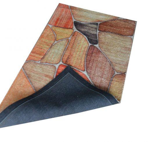Avioni Faux Silk Carpet – 3D Printed Neo Collection Stones -92×152 cm (3×5 Feet)